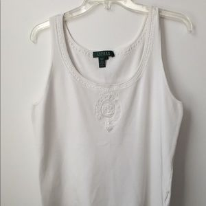 Ralph Lauren White Beaded/Embroidered Tank Large